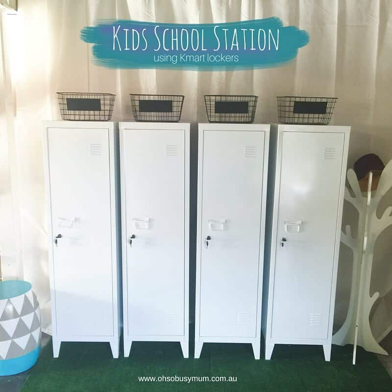 Kids school station using the kmart lockers oh so busy mum for Locker decorations you can make at home